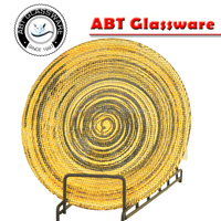 Contemporary art round cyclone glass charger plate