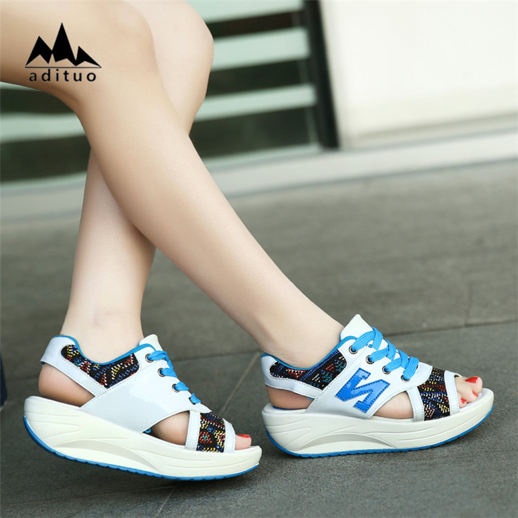 Female Fitness Swing Platform Wedge Shoes Lady Lose Weight Sneakers