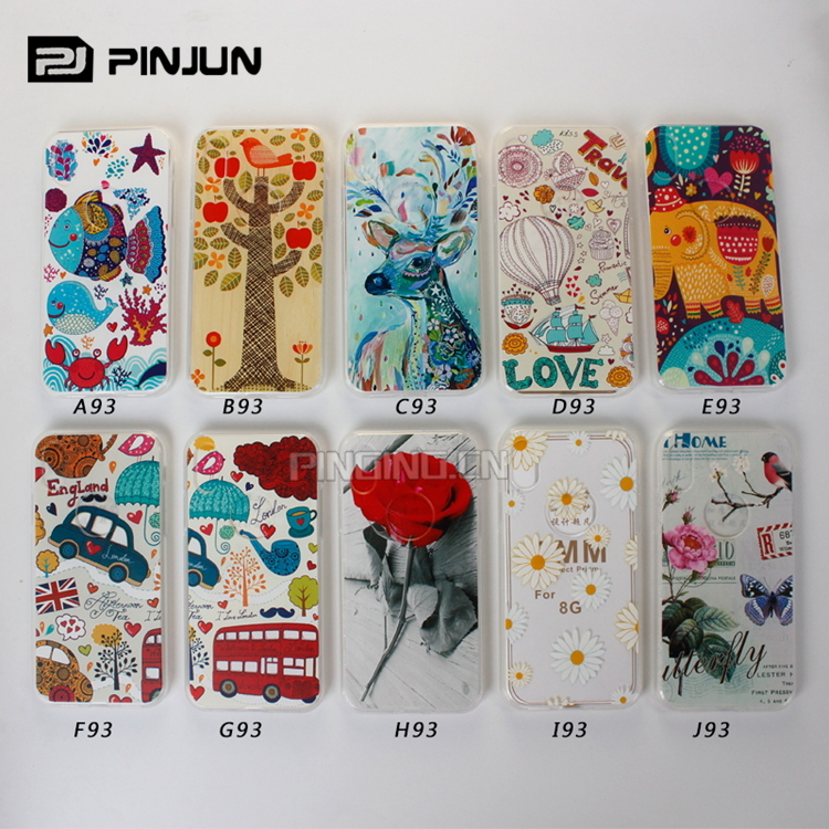 Mobile phone cover for iphone x / 8 7 6 5 soft tpu colorful painting pattern transparent cell phone case