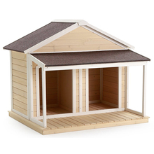 Duplex Double Wooden Dog House with Balcony