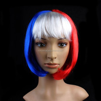 2015 New design short France flag blue white red synthetic hair bob wig