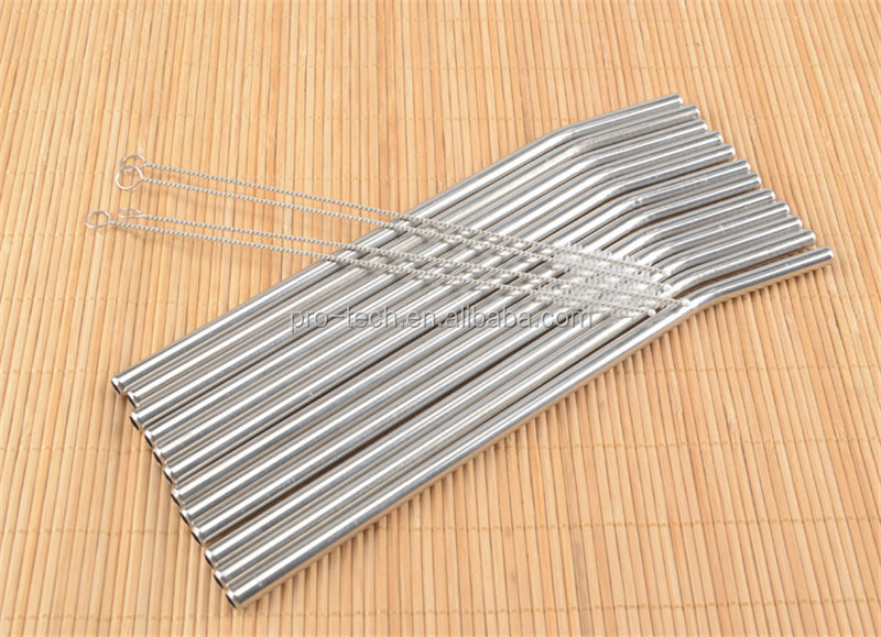 Stainless Steel Smoothie Drinking Straws with Cleaning Brjush