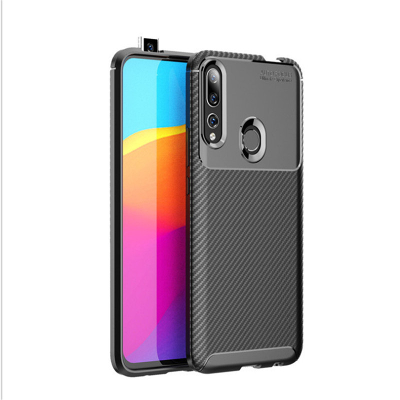 Fashion Leather Case for <strong>P</strong> smart Z Carbon Fiber Soft Cover TPU Silicone Slim Phone Case for huawei Y9 prime 2019 Flexible case