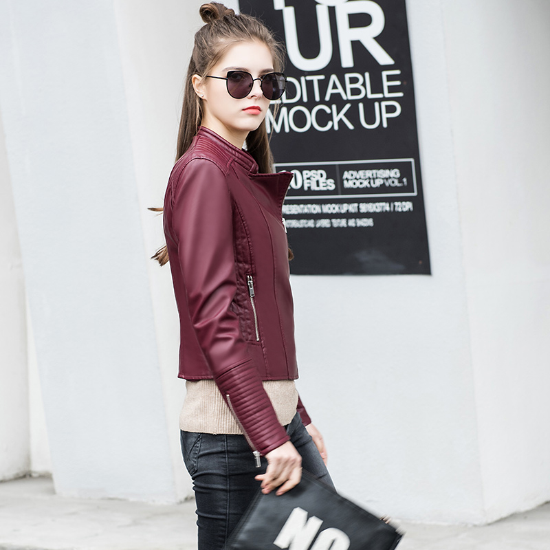 Top Specialized Attractive Design pu leather woman coats