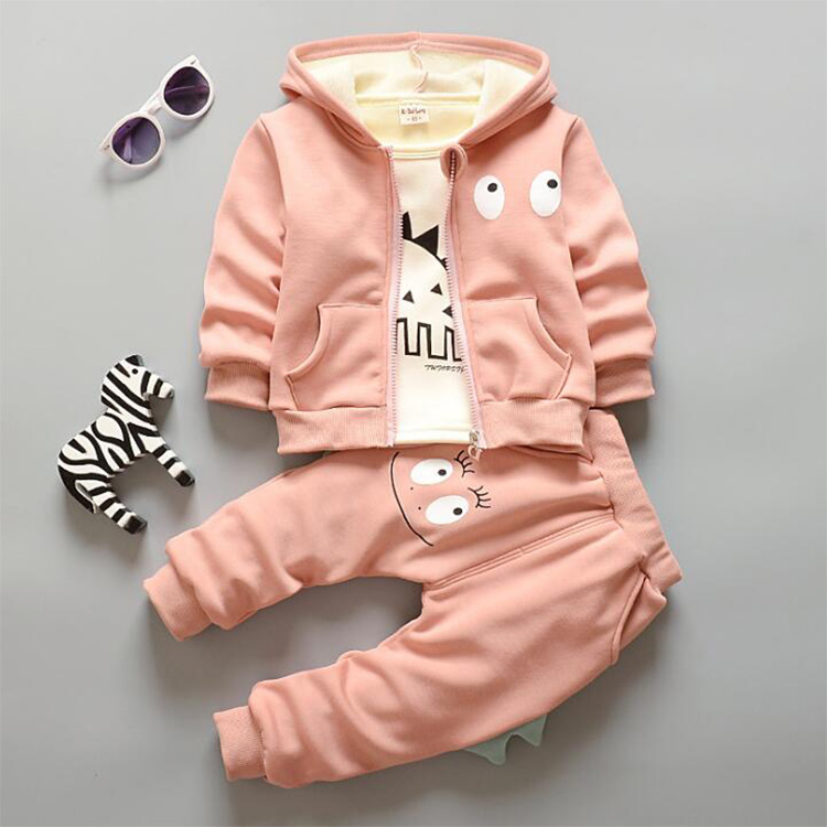 Fashion Children Cute Dinosaur Animal Winter Sports Suits 3pieces Clothing Sets