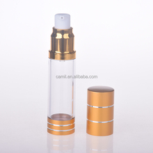 gold cosmetic packaging 15ml 30ml 50ml airless lotion bottle