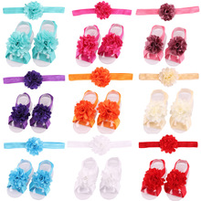 baby flower elastic hairbands with barefoot sandal
