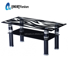 LS-1115 Living room furniture modern blak glass coffee table cheap center table for sale
