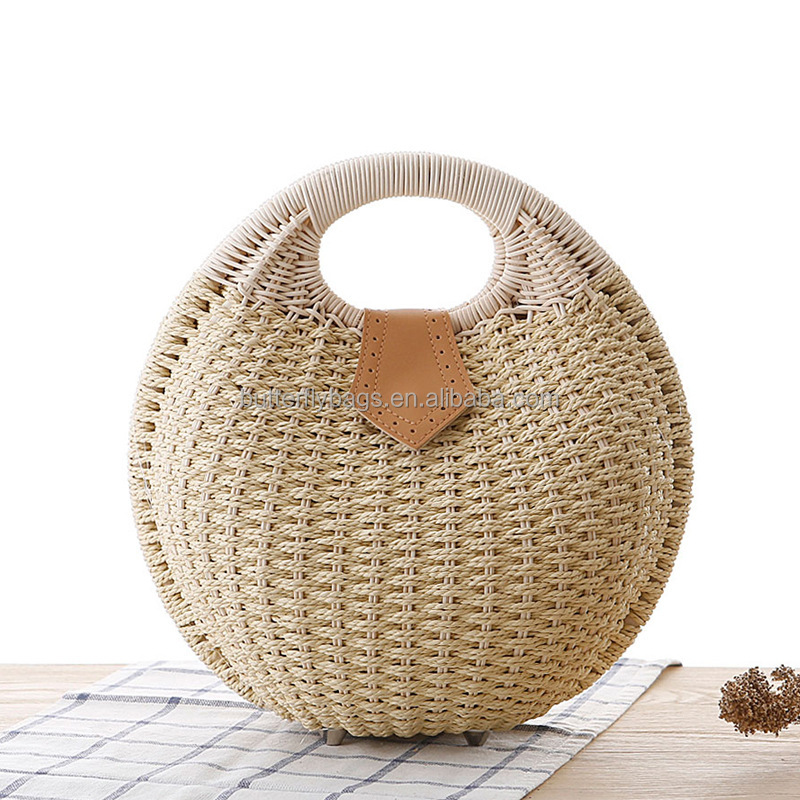 Wholesale women summer natural raffia straw bag shell shape rattan beach <strong>tote</strong> bag