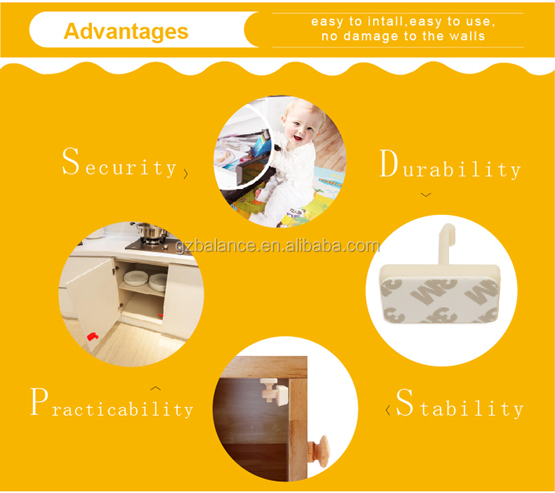 Mini baby safety magnetic drawer cabinet lock