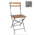 Cheap Outdoor Garden Iron Frame Folding Bistro Chair with Slat Wood Seat