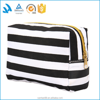 Light polyester zippered makeup train case, travel toiletry bag