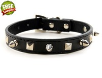 CL030 Studded PU Leather Dog Collar Pet Puppy Collars