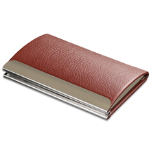 Leather&Metal Custom Big Hold Capacity Business Name Card Holder Cases