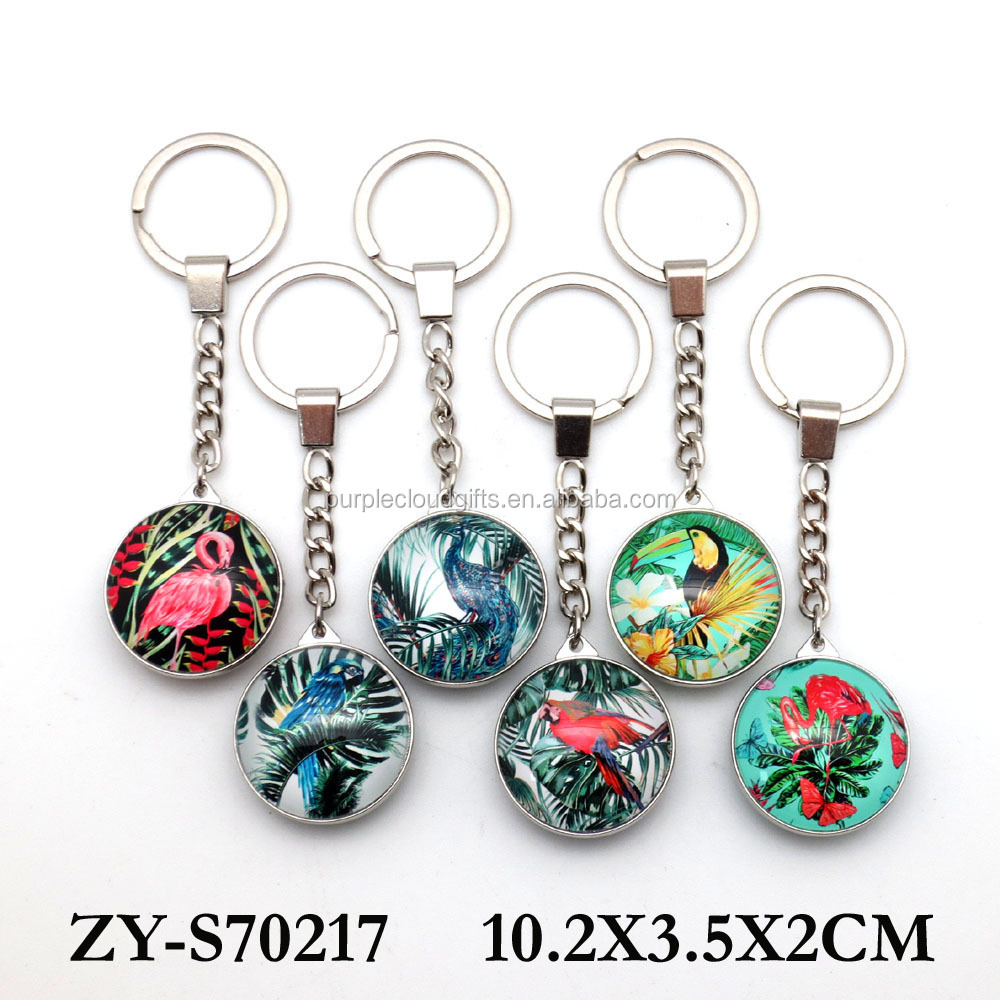 Custom Bird design sublimation metal crystal Glass Keychain