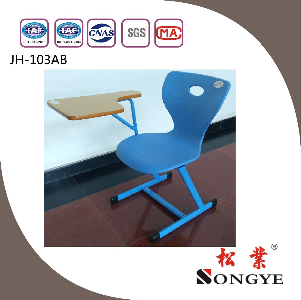 (Furniture) Plastic chair with wooden writing board ,school furniture and classroom furntiure for student desk