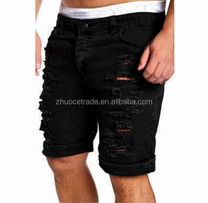 Custom Men's Ripped Short Pants Mokao Gentlemen Casual High Waist Fit Fashion Jeans Sexy Boy Denim Hole Slim Pencil Trousers