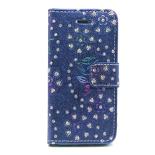 Peacock pattern phone case PU leather phone shell flip back cover for Iphone 5