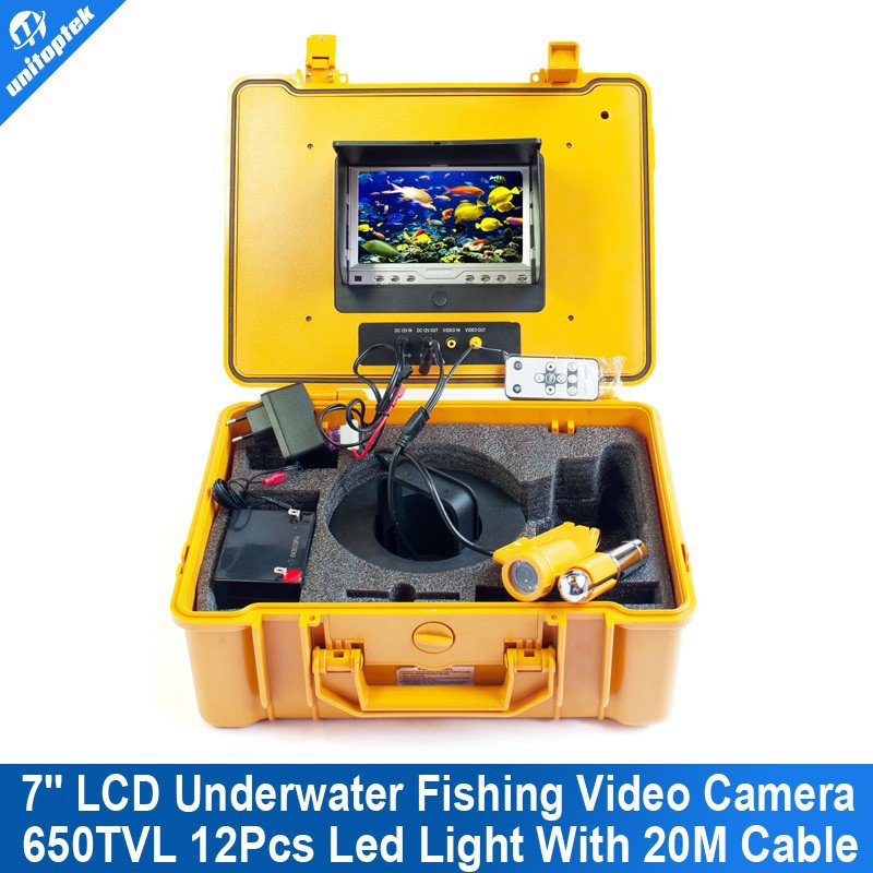 7 inch LCD Underwater CCTV Camera System Fish Finder CCD 650TVL12Pcs White Lights Night Vision Fishing Camera 20M Cable
