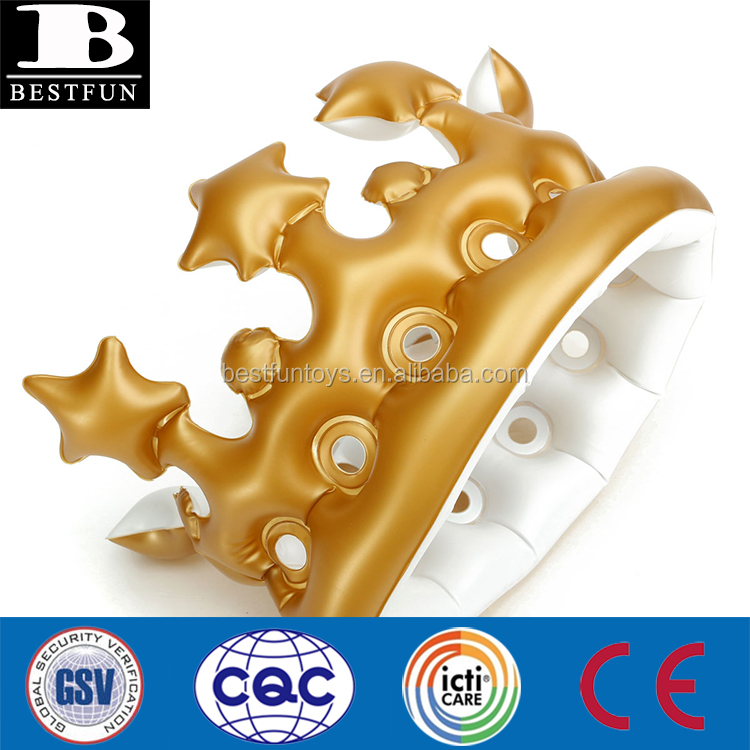 high quality inflatable crown folding plastic gold inflatable crown funny inflatable birthday party toys