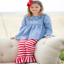 Wholesale Autumn decorative outfit child casual jeans clothes and ruffle pants