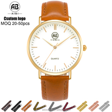 Stainless steel golden case custom logo men leather wrist watch 2016