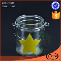 Cheap decal yellow star glass candle holder with handle