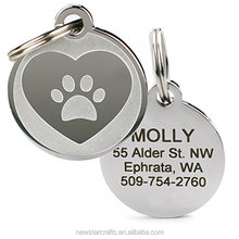Heart Name Plate Dog and Cat Pet Collar Identification Tags