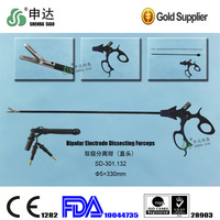 Used in hospital Laparoscopic Straight head Bipolar Electrode Dissecting Forceps