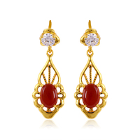 23882- xuping cheap fashion women jewelry 24k gold dubai red stone drop earrings