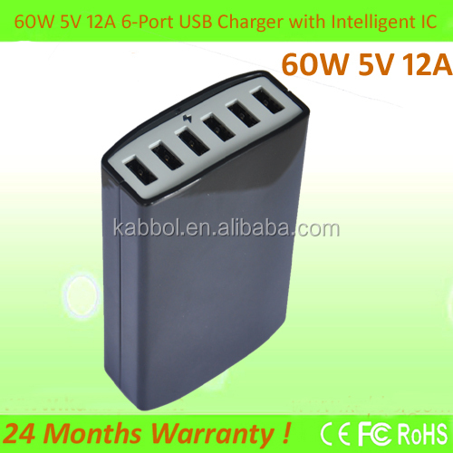 6 port usb 60W desktop Charger 5V 12A wall charger adapter for universal USB wall travel Charger EU US Plug for lenove Jiayu