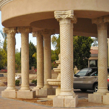 Outdoor Building Decoration Strip Design Gazebo Use Beige Marble Carved Pillar