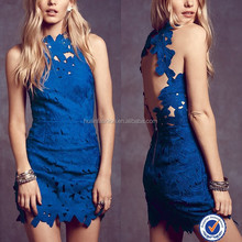 Nueva cut out back sexy woman <span class=keywords><strong>azul</strong></span> brillante mini vestido <span class=keywords><strong>de</strong></span> <span class=keywords><strong>encaje</strong></span> <span class=keywords><strong>de</strong></span> flores