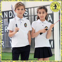 Short Sleeves Stretched Cotton Middle School Uniforms Shirts Manufacturers