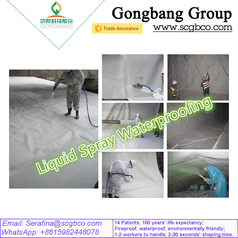 New Patent Technology Use for Heavy Leak Problem Fireproof in Tunnel Metro Spray Waterproofing Membrane Material