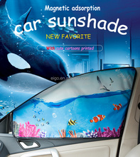 Magnetic adsorption car sunshade with cute cartoons pictures