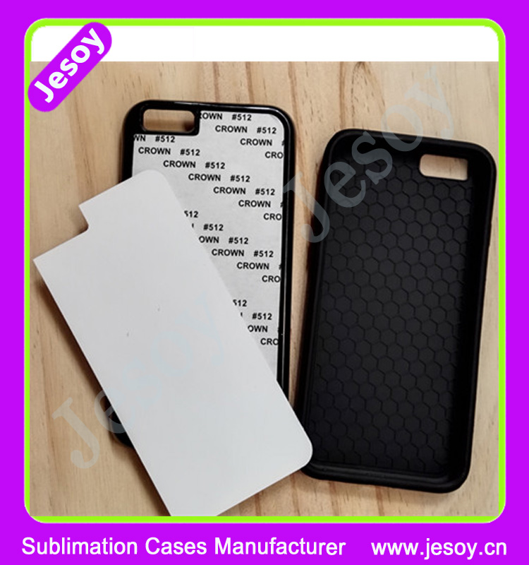 JESOY Dye Blank 2D Sublimation Rubber Case For iPhone 5 5s 5c 6 7 Back Cover TPU Case and inserts