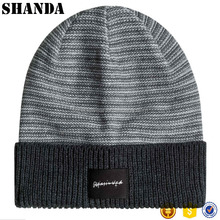 High Quality Printed cotton label custom stretched rib knit cuff mens beanie