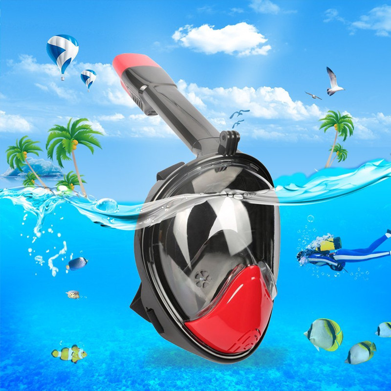 Full Face Easy Breathing Snorkeling Mask 180 Degree View with Gopro Camera Mount