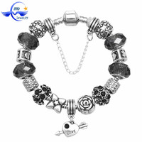 Black Glass Bead European DIY Health Products 2015 Women Sterling Silver Charm Bracelet