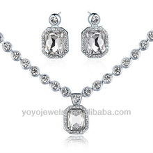 2013 lastest gold plated necklace and earring cheap crystal jewelry set