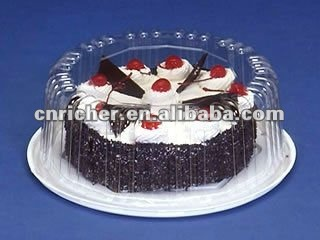 disposable plastic transparent round cake packing box/container/tray with lid/cover