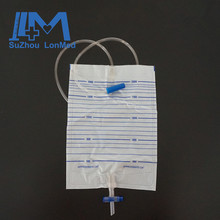 2000ml Portable cross valve urinary drainage bag for single use