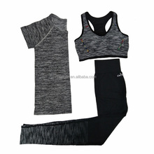 OEM Women Quick Dry Yoga Sets for Gym Running Yoga T-Shirt Tops & Sports Bra Vest & Fitness Pants Workout Sports Suit Set