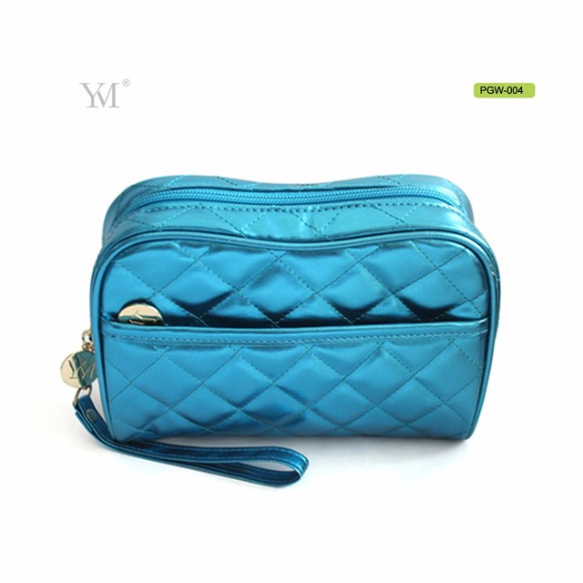 hot style makeup bags blue shiny pvc leather cosmetic bag for women