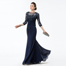 Long Navy Blue Mother Of The Bride Dresses 2018 Chiffon Beaded Appliques Bodice Sheer 3/4 Sleeves Mothers Evening Dresses