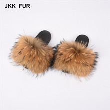 Hot Selling Fashionable Raccoon Fur <strong>Slippers</strong> with Wider Soft Fur Real Fur Slides