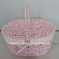 Supermarket shopping wicker basket with lid and handle