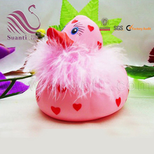 Pink floating toy rubber stuffed bath duck