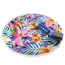Flower Design Thick Roundie Tapestry Beach Towel , Round Beach Towels Throw Yoga Mat Table Cover Picnic Mat Wall Hanging